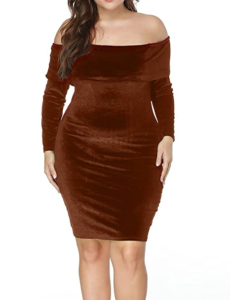 Allegrace Women Velvet Off The Shoulder Long Sleeve Plus Size