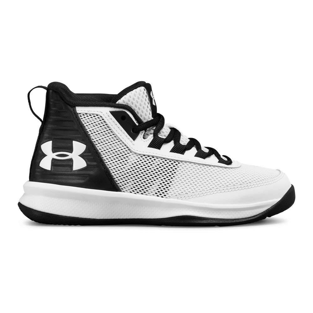 Under Armour Boys' Pre School Jet 2018 Basketball Shoe, White (100)/Black 1