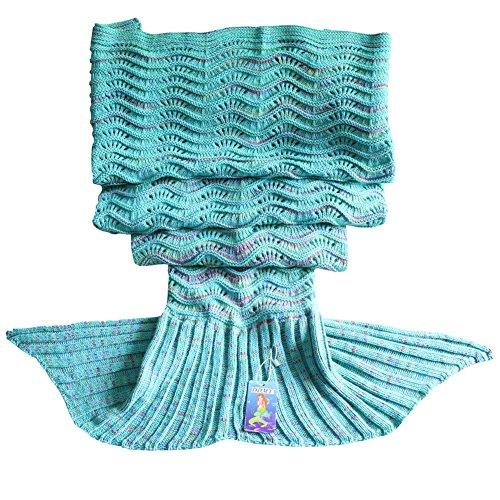 "DDMY Mermaid Tail Blanket For Kids Teens Adult Handmade Wave Mermaid Blankets Crochet Knitting Blanket Seasons Warm Soft Living Room Sleeping Bag Best Birthday Christmas gift 74""x35"" Mint Green"