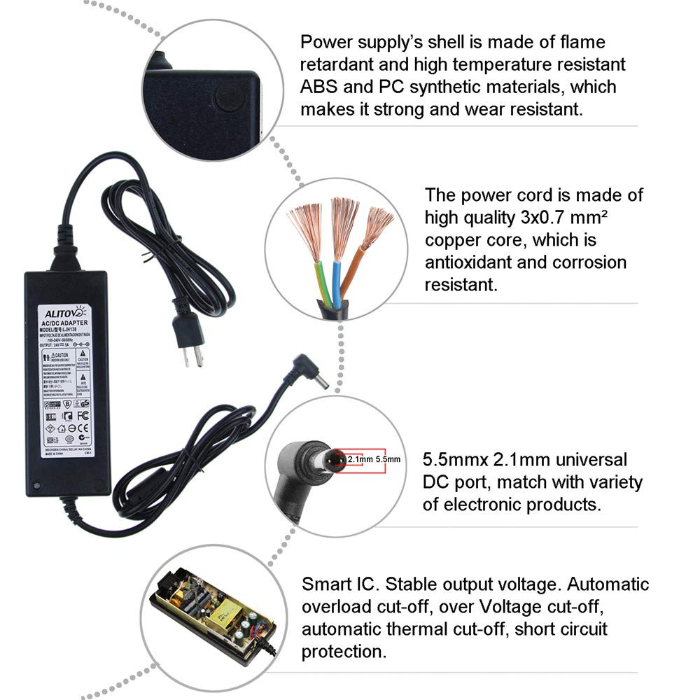 Alitove Ac 100 240v To Dc 24v 5a Power Supply Adapter 37 Volt 30 Amp Converter Charger With 55x21mm Output Jack For 5050 3528 Led Strip Module Light Home
