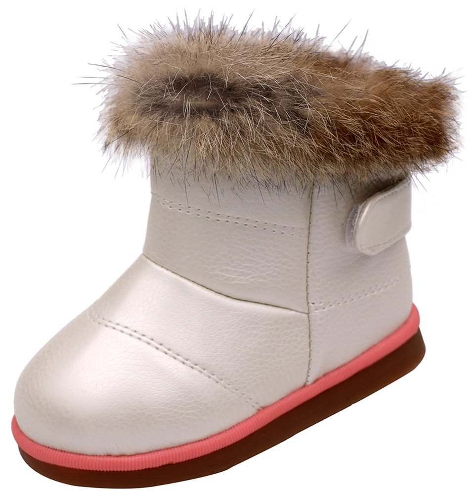 Femizee Toddler Girls Fully Fur Lined Waterproof Winter Snow Boots,White 1934 CN24