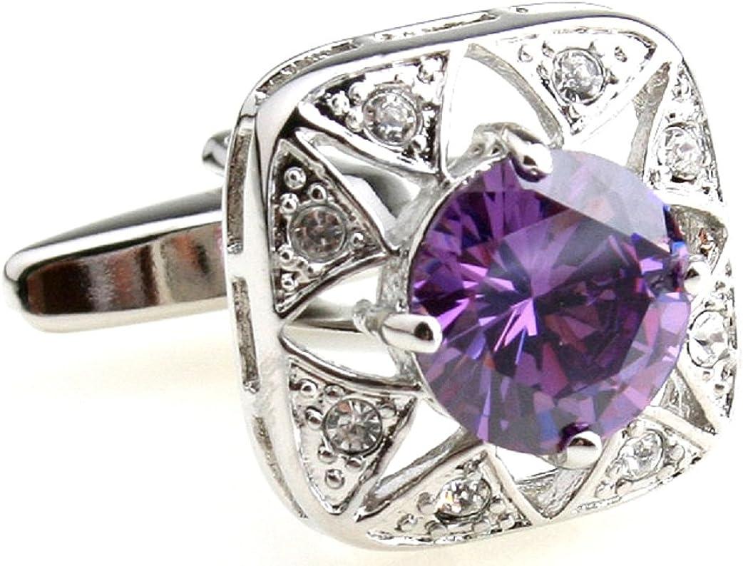 MRCUFF Purple Crystal Pair Cufflinks in a Presentation Gift Box & Polishing Cloth