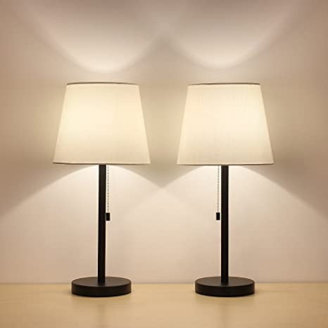 HAITRAL Table Lamp Set of 2 Modern Desk Lamps Black Night Lamps for ...