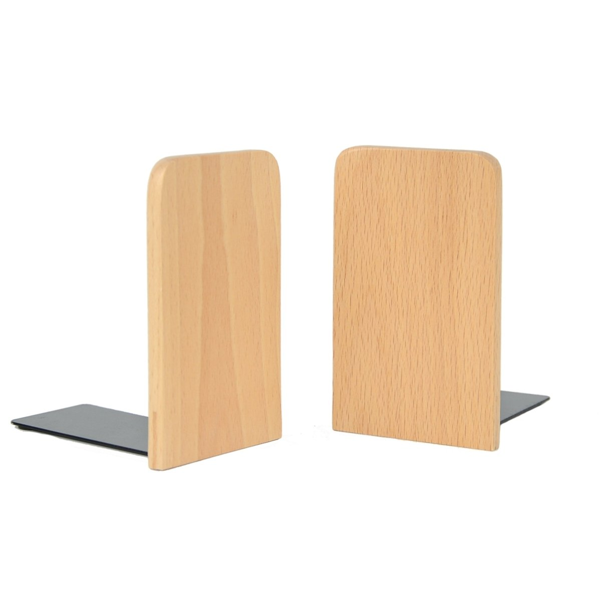 Musowood Bookend Set of 2 Natural Beech Wood Office Desktop Bookends, (Square) by Musowood