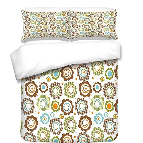- VAMIX 3Pcs Duvet Cover Set,Floral,Traditional Retro Polka Dots Cartoon Style Abstract Flower Petals Colorful Circles,Multicolor,Best Bedding Gifts for Family/Friends,