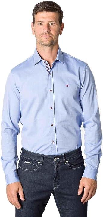 Etiem Camisa Regular Jacquard Azul Celeste Hombre S: Amazon.es: Ropa y accesorios