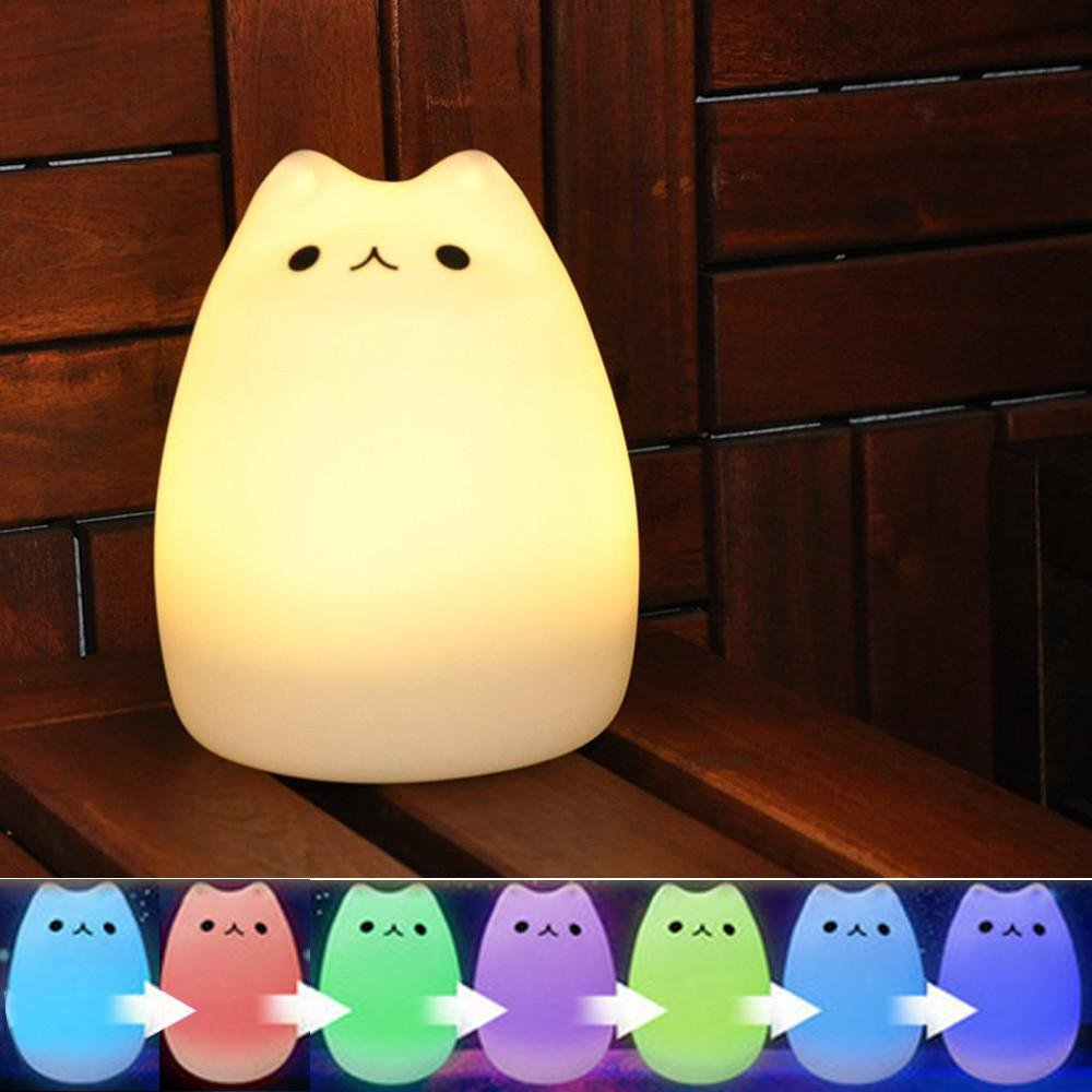 Umiwe Cute Kitty Led Children Night Light Kids Silicone Cat Lamp 7 Wiring Bath Fan With And Nightlight Color Flashing Usb Rechargeable Lighting Warm White Home Kitchen