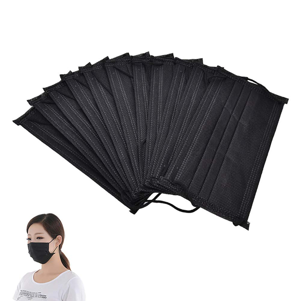 Quietcloud Face Mouth Mask, 10Pcs Non Woven Disposable Face Mouth Masks Anti-Dust Surgical Medical Earloops - Black