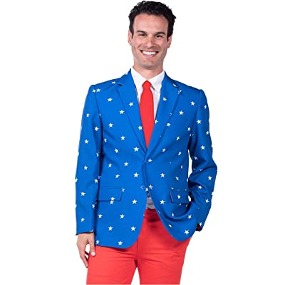Men's Patriotic American Flag Blazer - Red White & Blue USA Suit Jacket at Men's Clothing store