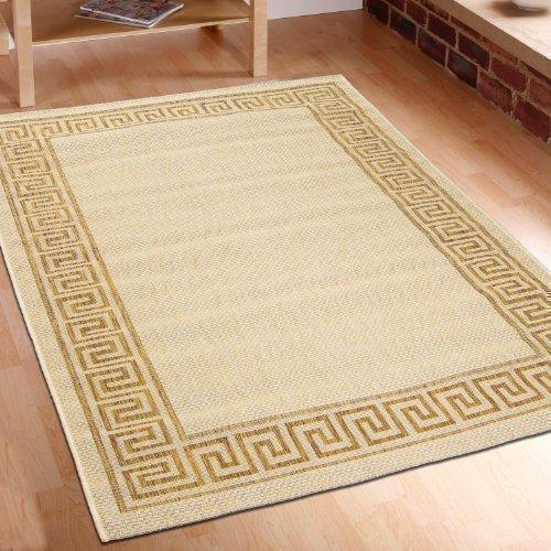 Teppich Flachgewebe berber beige Top Angebot verschiedene Größen In-& Outdoor (60 cm_x_110 cm)