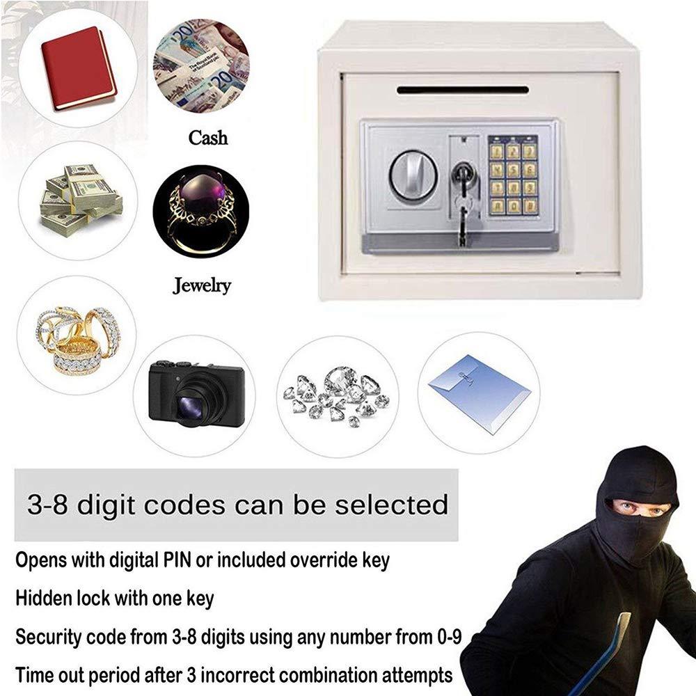 bianco 35 x 25 x 25 Cassaforte con codice elettronico di sicurezza per proteggere i documenti e i gioielli cm 16 L grande spazio