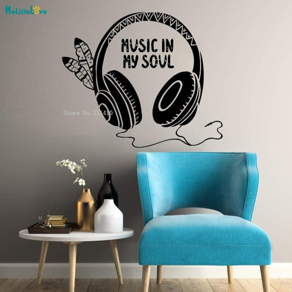 jiushixw Diseño Fresco de Moda Tatuajes de Pared Música Auriculares Alma Calidad Garantizada Etiqueta de Vinilo Decoración de Arte Mural Yt 66x56cm: Amazon.es: Hogar