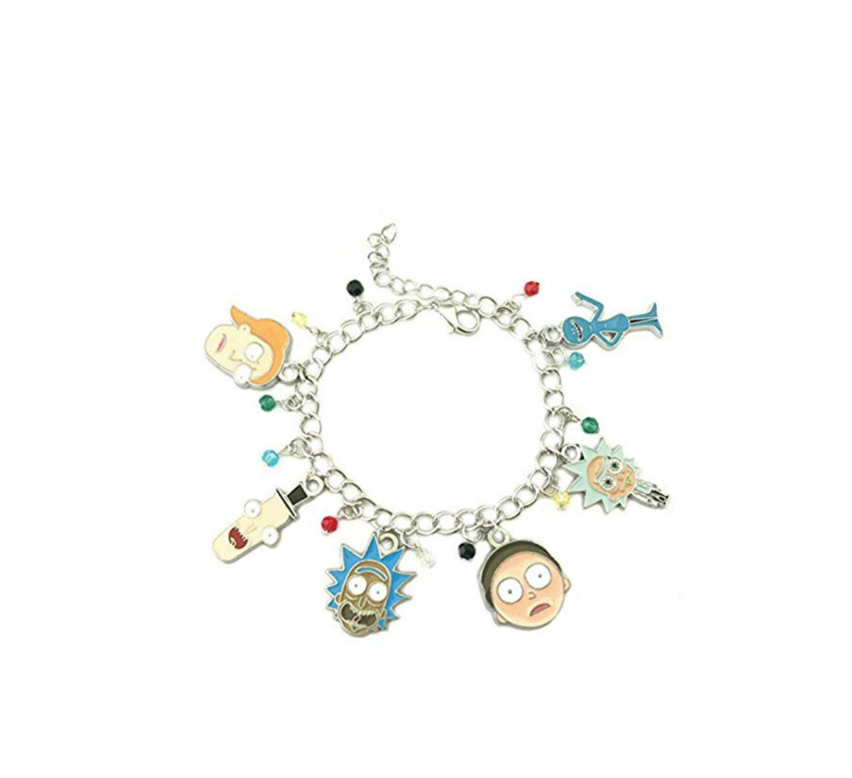 Athena Brand Rick and Morty TV Series Cartoon Network Science Theme Logo Charm Jewelry Bracelet w/Gift Box by