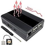 Eleduino Raspberry Pi 3, 2 and B+ Case Aluminum with Fan (Black)