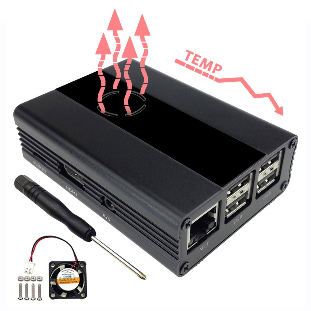 EleDuino 108592Eleduino Raspberry Pi 3, 2 and B+ Case Aluminum with Fan (Black)