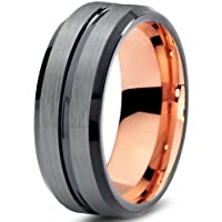 Tungsten Wedding Band Ring 8mm for Men Women Black Rose Yellow Gold Plated Beveled Edge Brushed Polished