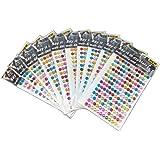 yueton 10 Sheets Colorful Self Adhesive Bling 6mm Round Rhinestone Craft Jewels Gem Sticker Embellishments