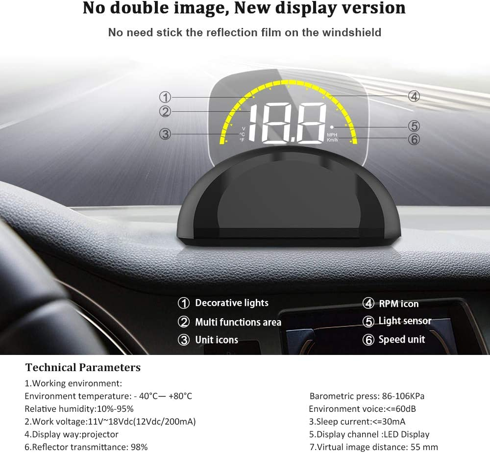iKiKin HUD Display Car OBD2 GPS Dual Mode Foldable Dashboard Projector of Speedometer Engine RPM Water Temperature Alert Car Head Up Display
