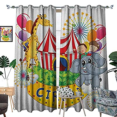 Warm Family Circus Room Darkening Wide Curtains Circus Show with Kids and Animals Smiling Magician Childhood and Happiness Theme Decor Curtains by W72 x L96 Multicolor