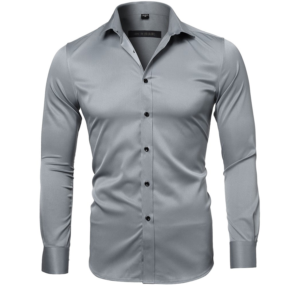 INFLATION Men's Bamboo Fiber Dress Shirts Slim Fit Solid Long Sleeve Casual Button Down Shirts, Elastic Formal Shirts for Men