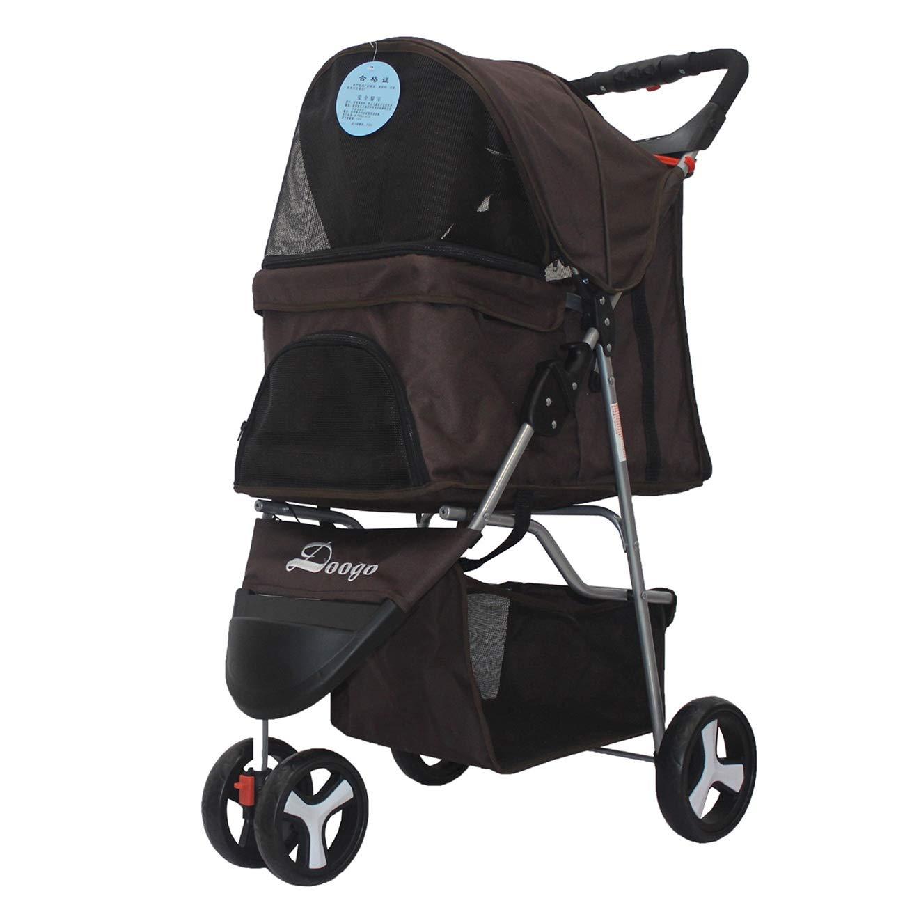 Brown LJJYN Pet stroller Dog cart Folding portable dog cart Small and medium-sized dog three-wheeled pet car Teddy dog cart, brown