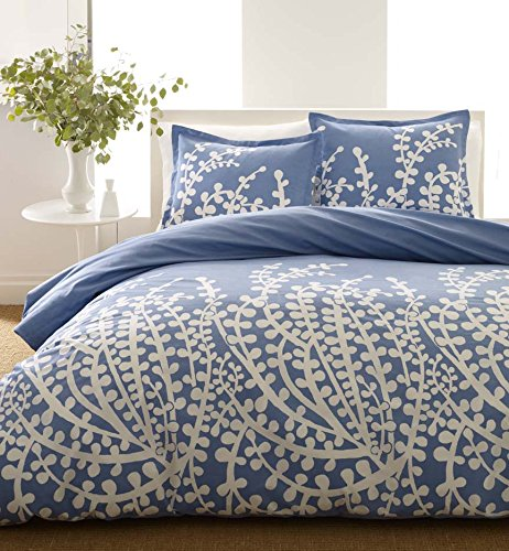 City Scene, Branches Collection, French Blue Duvet Set, Twin - Blue Garden Bed Ensemble