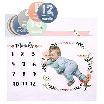 Mensual Manta para bebé con Pegatina Mes manta para recién nacido ...