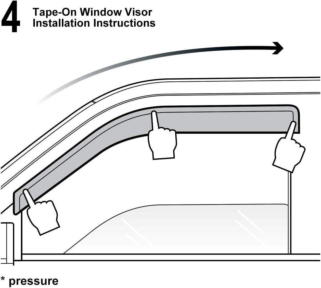 SarahQ for 2009-2013 Corolla 4Dr Sedan Dark Smoke Out-Channel//Outside Mount Style Wind Sun Rain Guard Vent Shade Deflector Window Visors