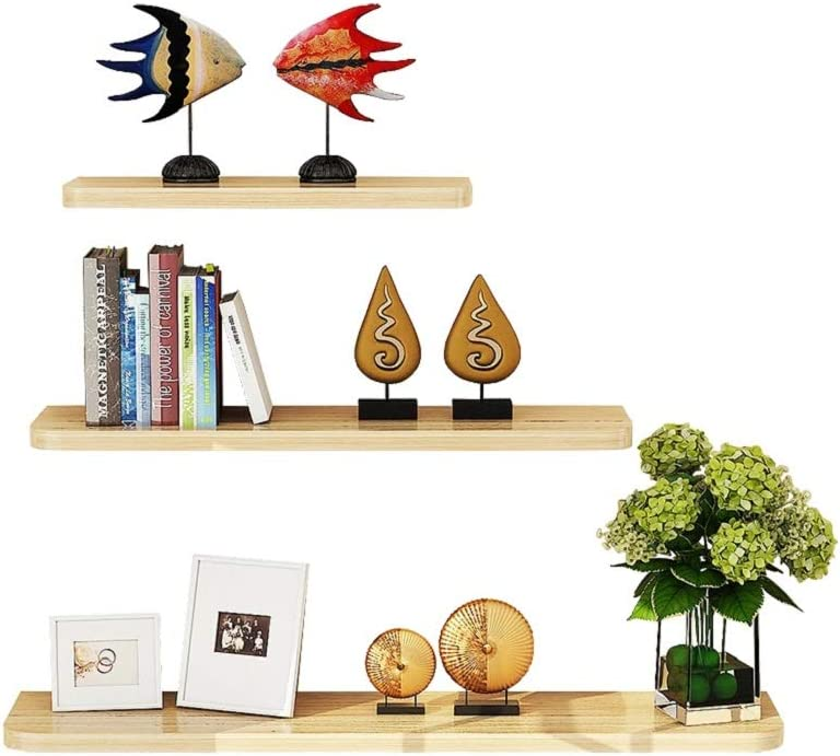 WUDENHOM Floating Wall Shelves, Set of 3 Pops CDs Display Storage Shelf Wood Modren Plants Towels Perfume Long Shelves for Home Office Bathroom White Maple