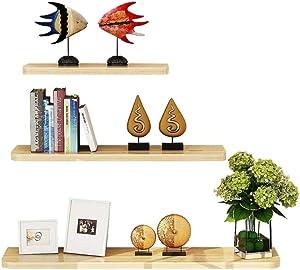 WUDENHOM Floating Wall Shelves, Set of 3 Pops CDs Display Storage Shelf Wood Modren Plants Towels Perfume Long Shelves for Home Office Bathroom White Maple