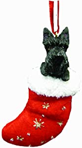 """Scottish Terrier Christmas Stocking Ornament with """"Santa's Little Pals"""" Hand Painted and Stitched Detail"""