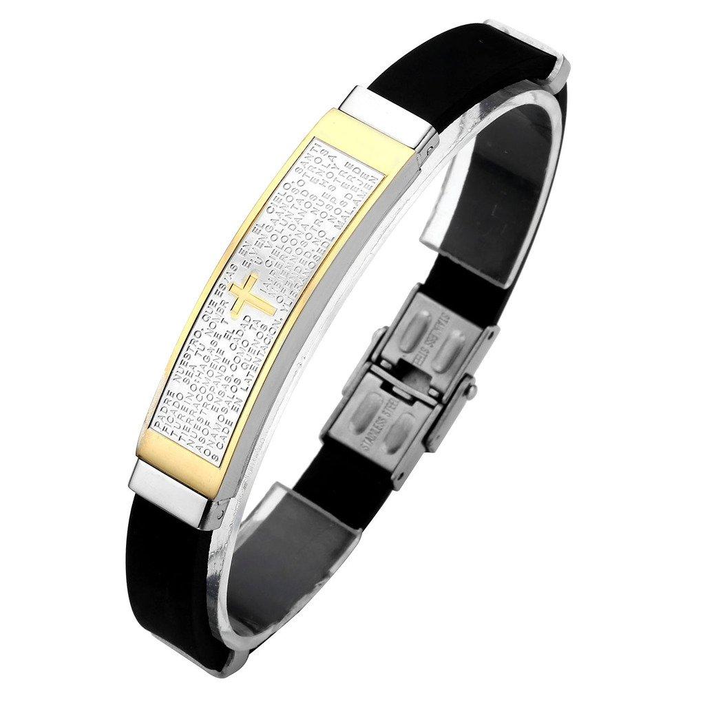 Zysta Bijoux Bracelet en caoutchouc noir manchette Homme Femme Punk en acier inoxydable-Priere Bible Croix laser
