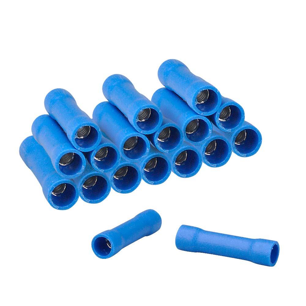 HUICAO 16-14 Gauge Butt Splice Connectors, 100 Pcs Vinyl Insulated Butt Splice Wire Crimp Connectors