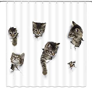 Lovely Cat In Wallpaper Hole Decor White Shower Curtain Fun Animals A Group Of Cute Kitten 3D Art Design Pet Picture,70x70 Inch Waterproof Polyester Fabric Bathroom Accessories Curtains With Hooks
