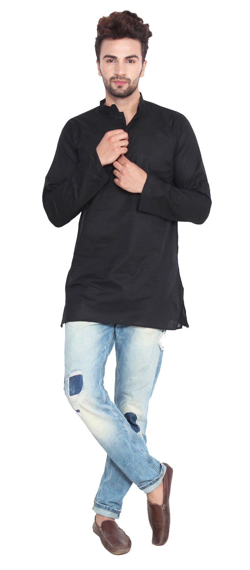 Cotton Dress Mens Short Kurta Shirt India Fashion Clothes (Black, M) by Maple Clothing (Image #2)
