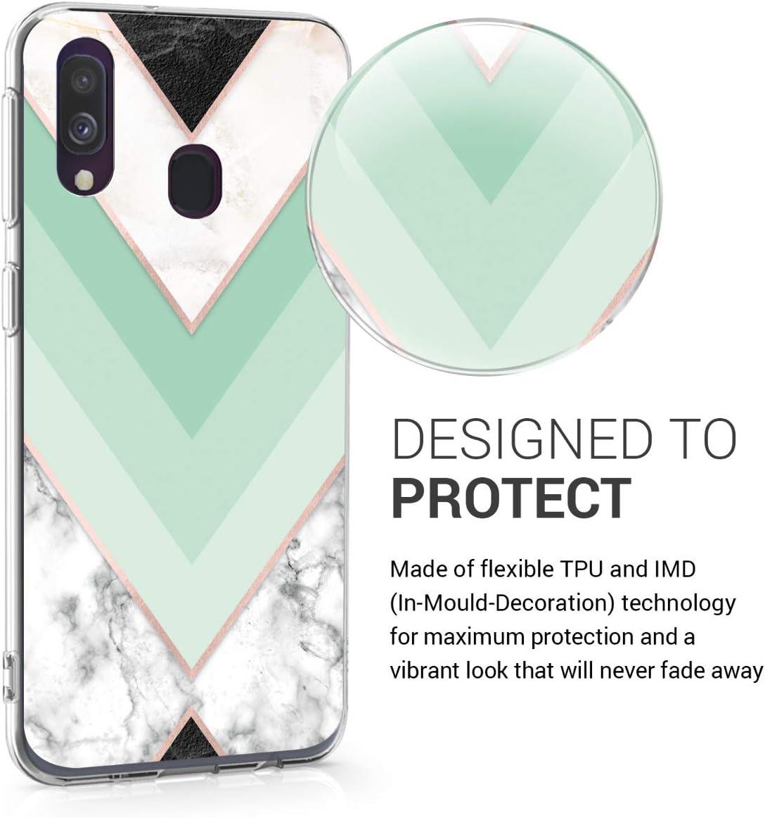 kwmobile Funda Compatible con Samsung Galaxy A40 Carcasa de TPU y m/ármol cl/ásico en Menta//Oro Rosa//Blanco