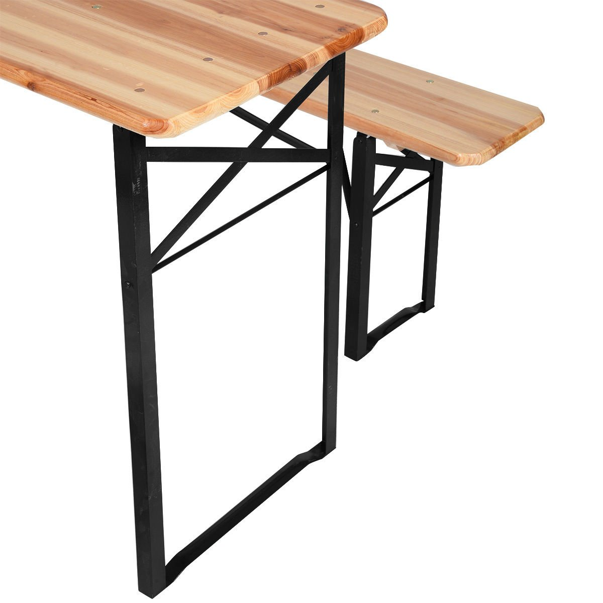 """Giantex 3-Piece Portable Folding Picnic Beer Table with Seating Set Wooden Top Picnic Table for Patio Outdoor Activities Garden Use, 30"""" Table Height"""