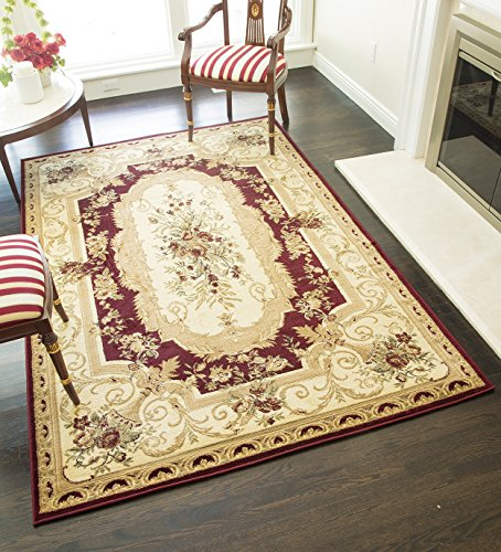 - Rugs America Sorrento Area Rug, 7-Feet 10-Inch by 10-Feet 10-Inch, Aubusson Red