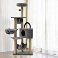 Cat Tree Condo Multi-Tier Play Tower with Natural Seaweed Rope Scratching Post and Pad Kitty Play House Furniture