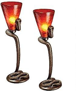 Design Toscano Uraeus, Egyptian Cobra God Altar Lamp, 21 Inch, Set of 2, Bronze