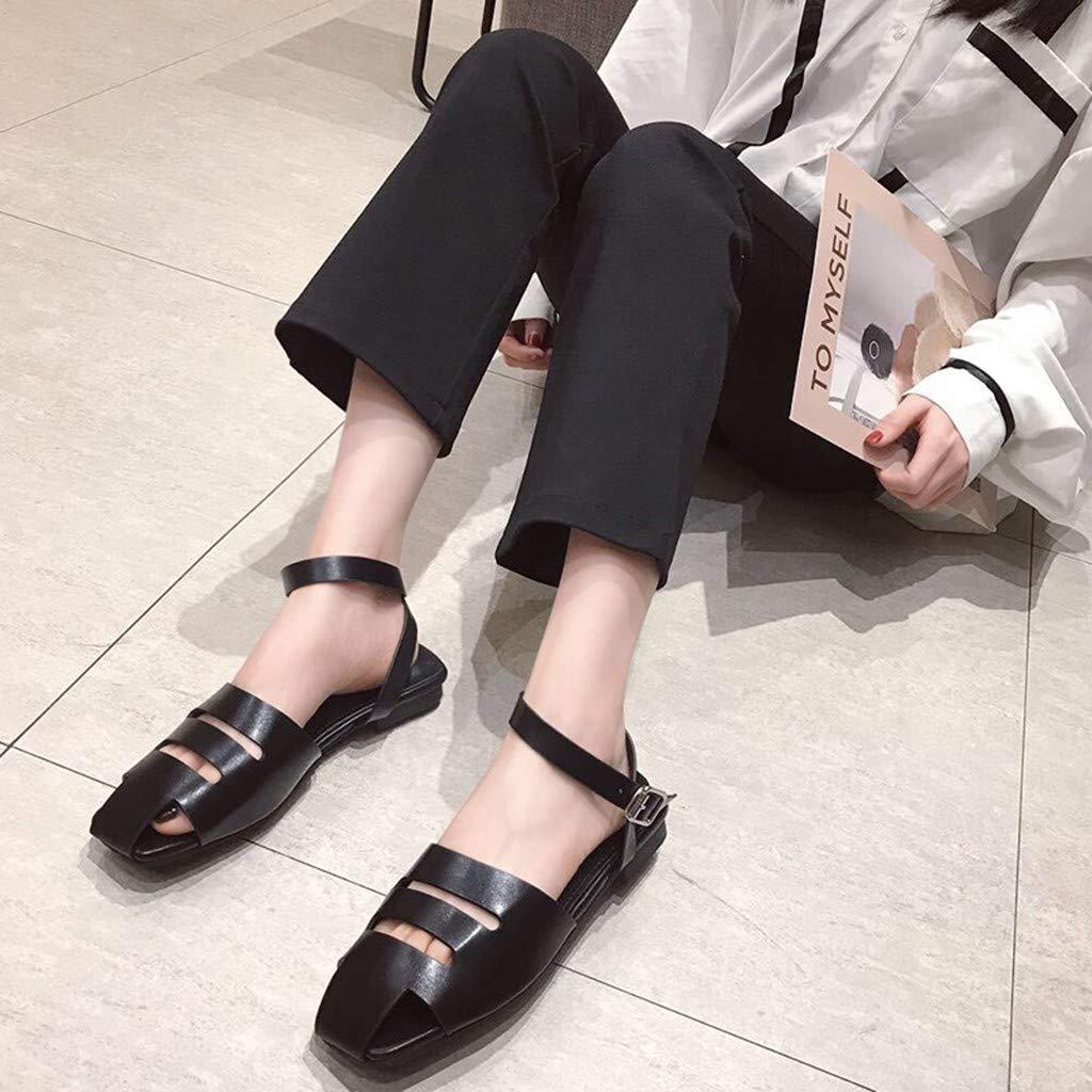 Midress Womens Sandals Casual Summer Women Flat Square Toe Buckle Strap Hallow Comfort Sandals
