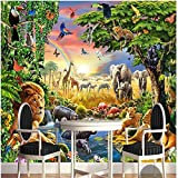 LHDLily 3D Wallpaper Mural Wall Sticker Thickening Custom Photo Wall Rainbow Green Woods Parrot Elephant Animal Children Painting Room 300cmX200cm