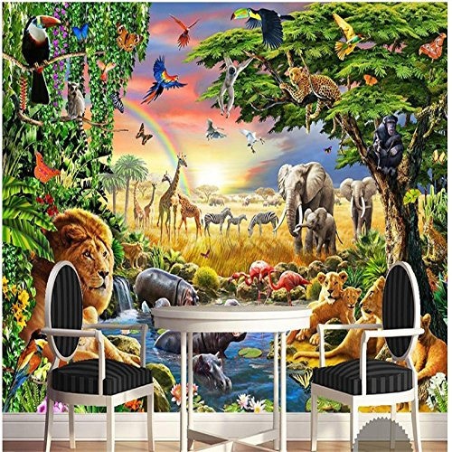 LHDLily 3D Wallpaper Mural Wall Sticker Thickening Custom Photo Wall Rainbow Green Woods Parrot Elephant Animal Children Painting Room 300cmX200cm by LHDLily
