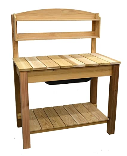 Amazon Com Phat Tommy Patio Garden Cedar Planter Potting Bench