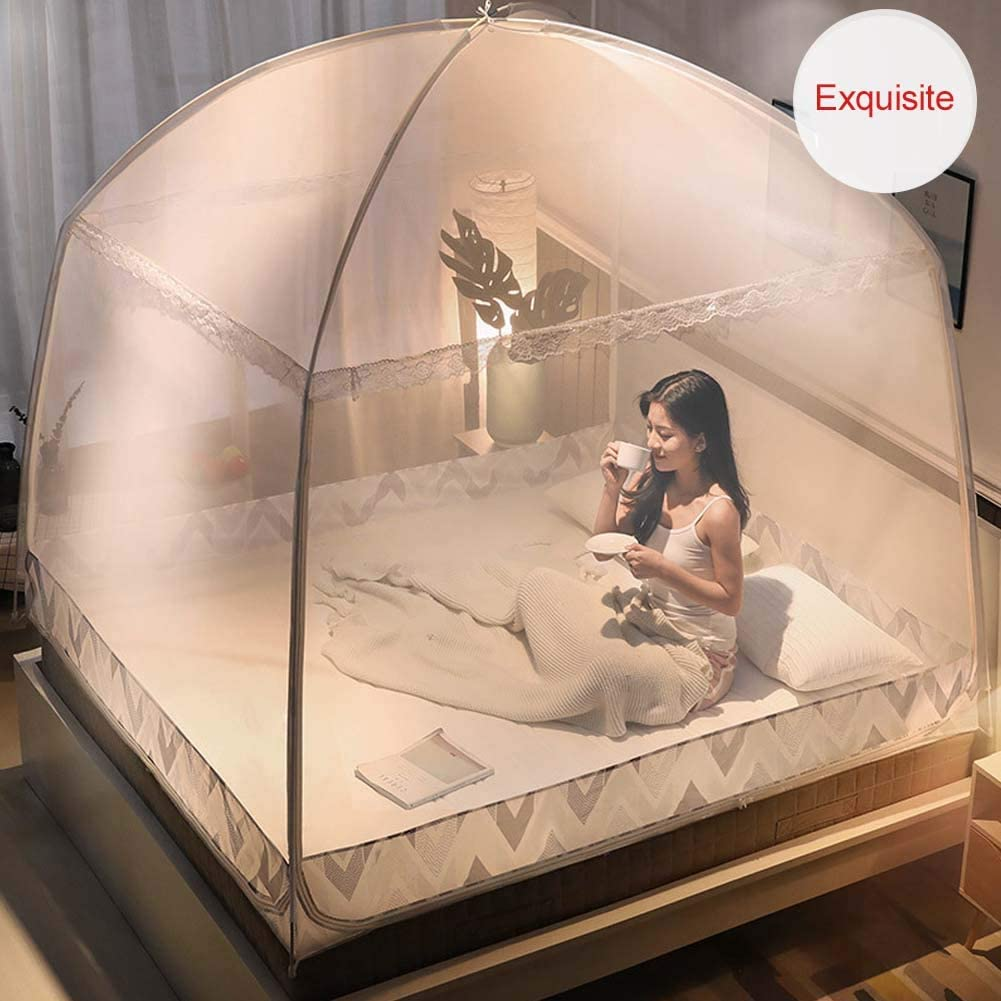 Outdoor Mongolian Yurt Dome Net Free Installation and Folding Nets Prevent Insect Pop Up Tent Curtains for Beds Bedroom Nbibsaacy Mosquito Nets
