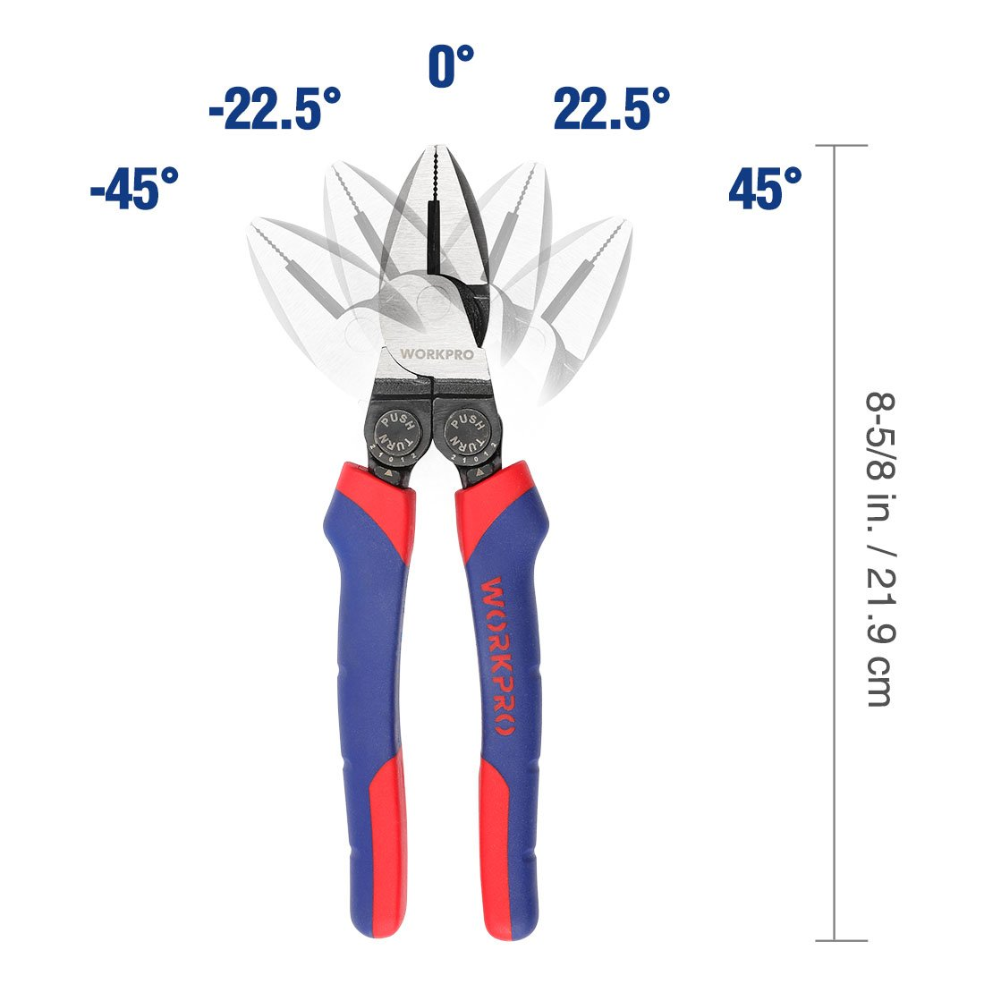WORKPRO High Leverage Linesman Pliers Multi Purpose with 5-Position Adjustable Angle Offset, 8-inch - - Amazon.com