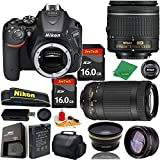 Great Value Bundle for D5500 DSLR – 18-55mm AF-P + 70-300mm AF-P + 2PCS 16GB Memory + Wide Angle + Telephoto Lens + Case