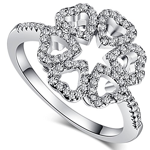 Veunora 925 Sterling Silver Created White Topaz Filled Heart Flower Ring for Women (Earrings Butterfly Oxidized)