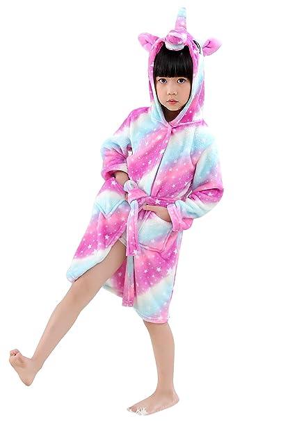 df05ec532f JOXJOZ Kids Unicorn Hooded Bathrobes Flannel Robe Pajamas Unisex Animal  Sleepwear Gift (Galaxy