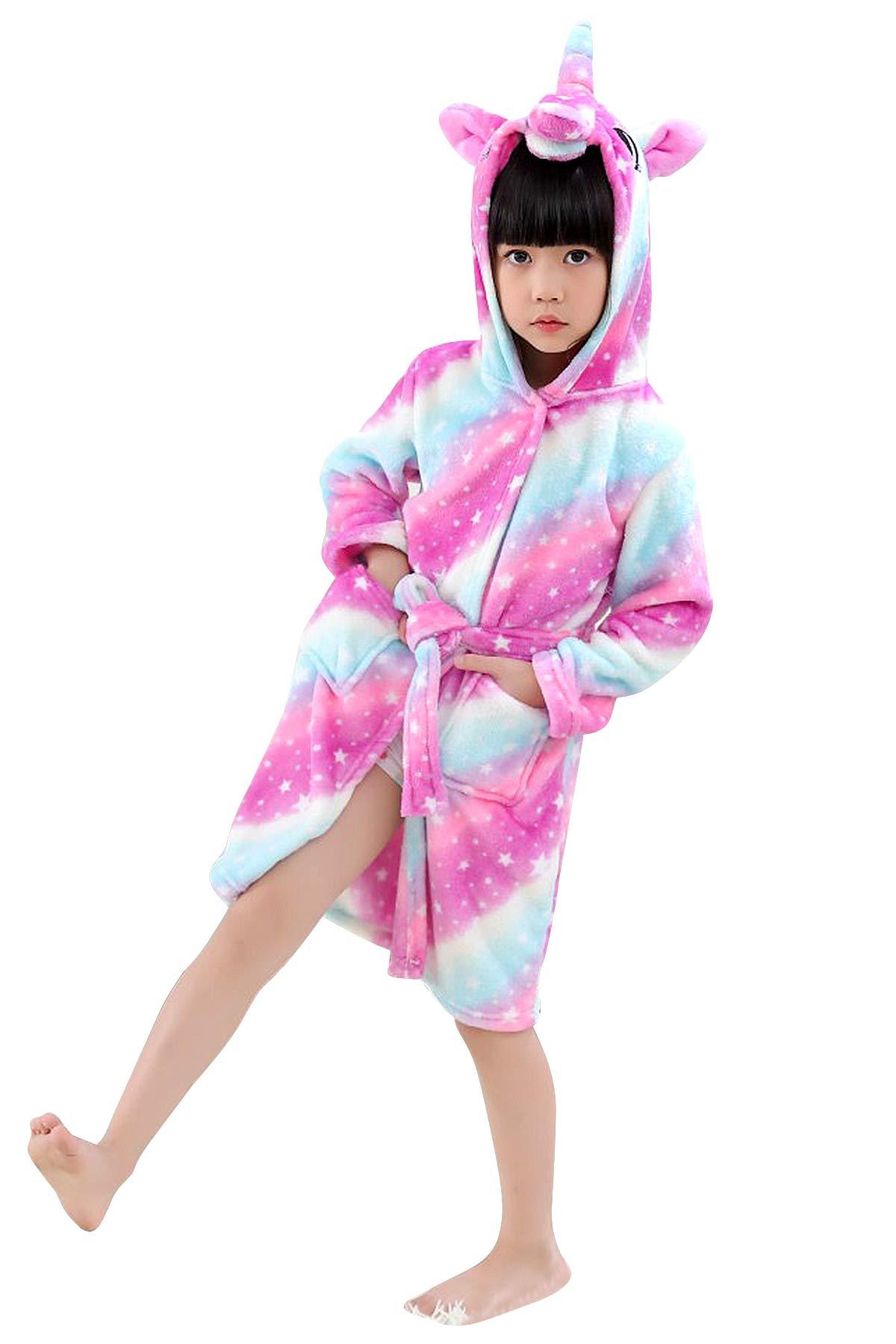 JOXJOZ Kids Unicorn Hooded Bathrobes Flannel Robe Pajamas Unisex Animal Sleepwear Gift (Galaxy, 110(Suggested Height39.4-43.3''))